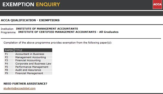 ACCA exemptions from CMA