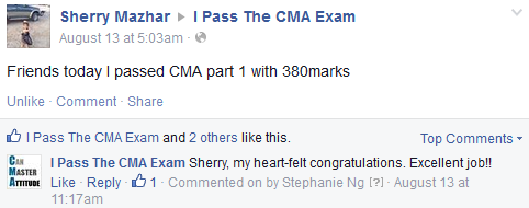 CMA exam success story from Sherry