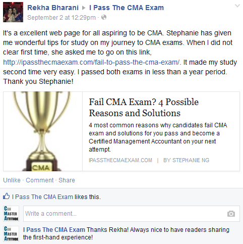 CMA exam success story from Rekha