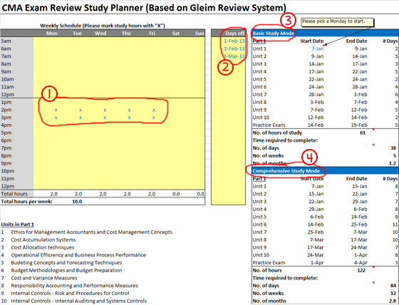 CMA Exam Study Planner to Download and Customize (It's Free!)