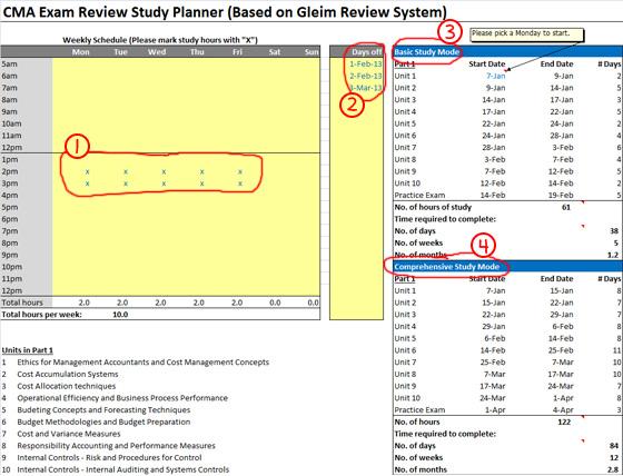 Gleim CMA Exam study planner
