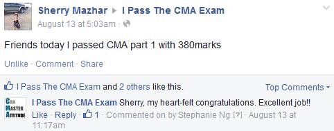 CMA exam success story from Sherry