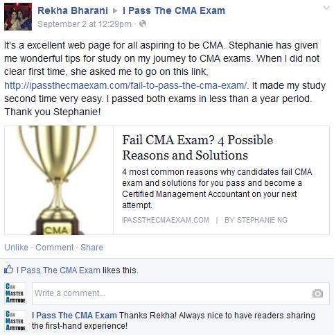 CMA exam success story from Rekha