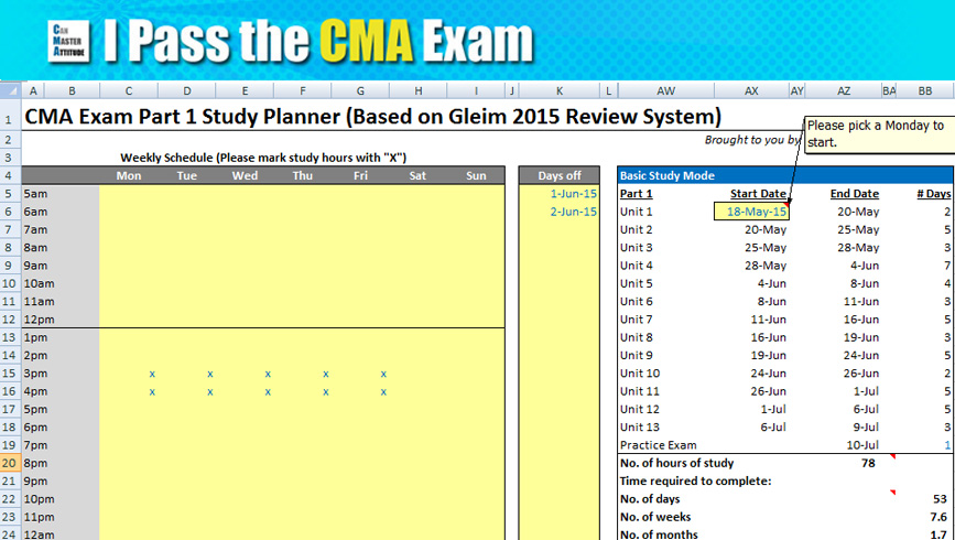 cma exam study planner to download and customize  it u0026 39 s free