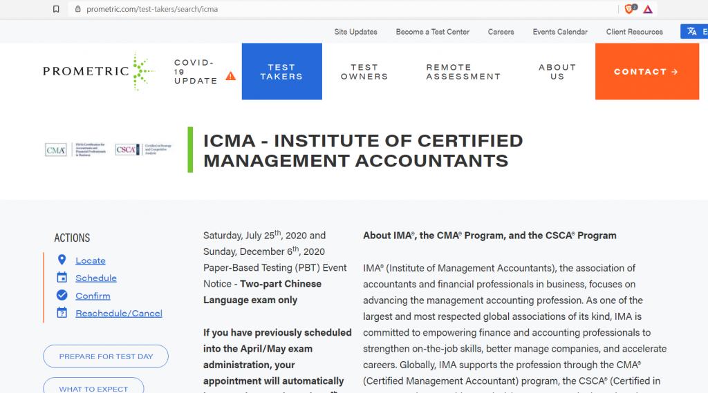 ICMA page at Prometric's website